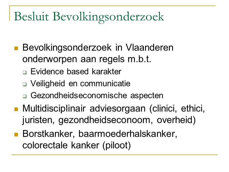 Besluit Bevolkingsonderzoek Bevolkingsonderzoek in Vlaanderen onderworpen aan regels m.b.t.  Evidence based karakter  Veiligheid en communicatie  G