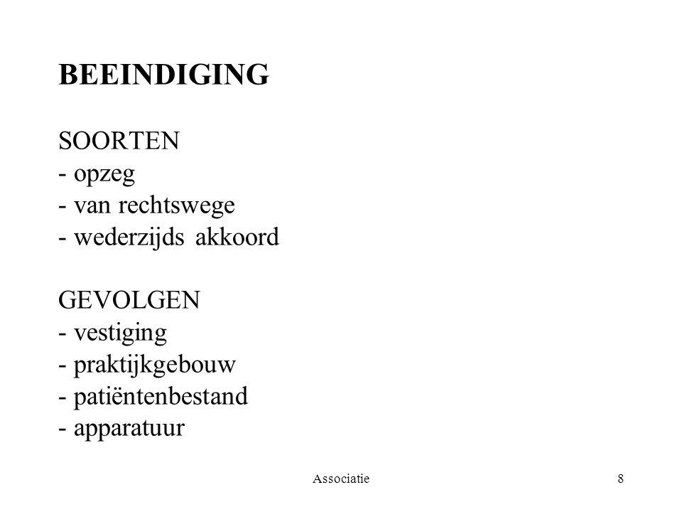 Associatie8 BEEINDIGING SOORTEN - opzeg - van rechtswege - wederzijds akkoord GEVOLGEN - vestiging - praktijkgebouw - patiëntenbestand - apparatuur