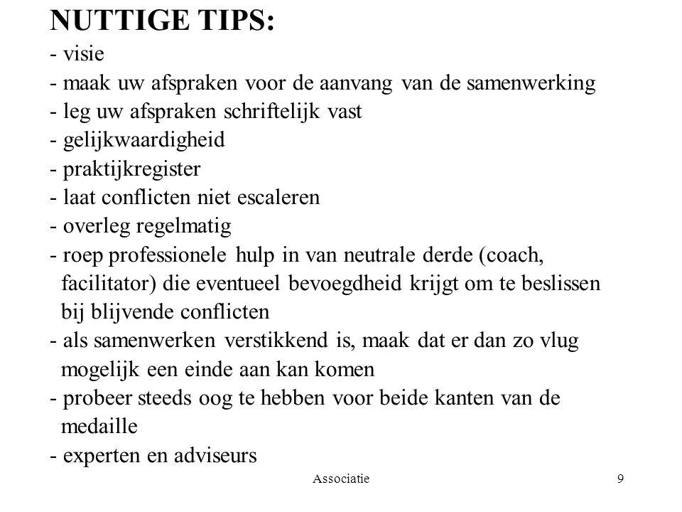 Associatie9 NUTTIGE TIPS: - visie - maak uw afspraken voor de aanvang van de samenwerking - leg uw afspraken schriftelijk vast - gelijkwaardigheid - p