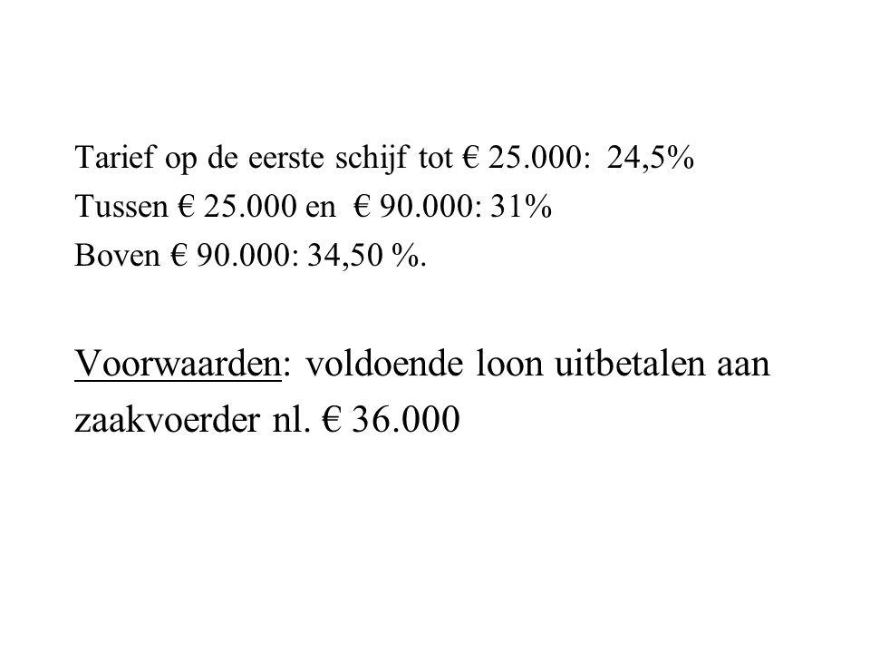 Tarief op de eerste schijf tot € 25.000: 24,5% Tussen € 25.000 en € 90.000: 31% Boven € 90.000: 34,50 %. Voorwaarden: voldoende loon uitbetalen aan za
