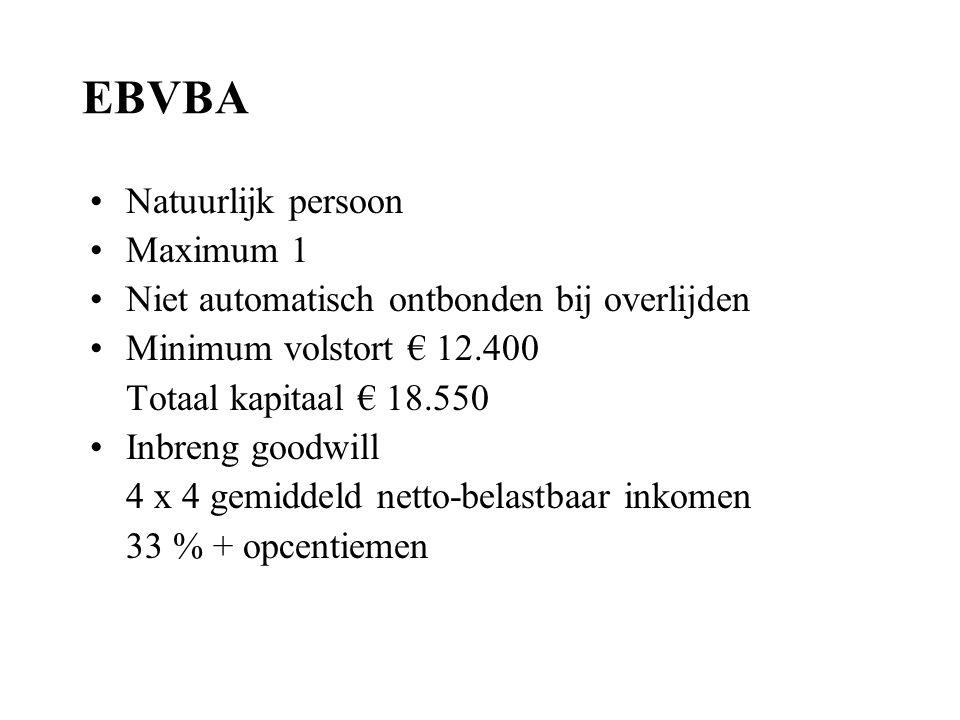 EBVBA Natuurlijk persoon Maximum 1 Niet automatisch ontbonden bij overlijden Minimum volstort € 12.400 Totaal kapitaal € 18.550 Inbreng goodwill 4 x 4