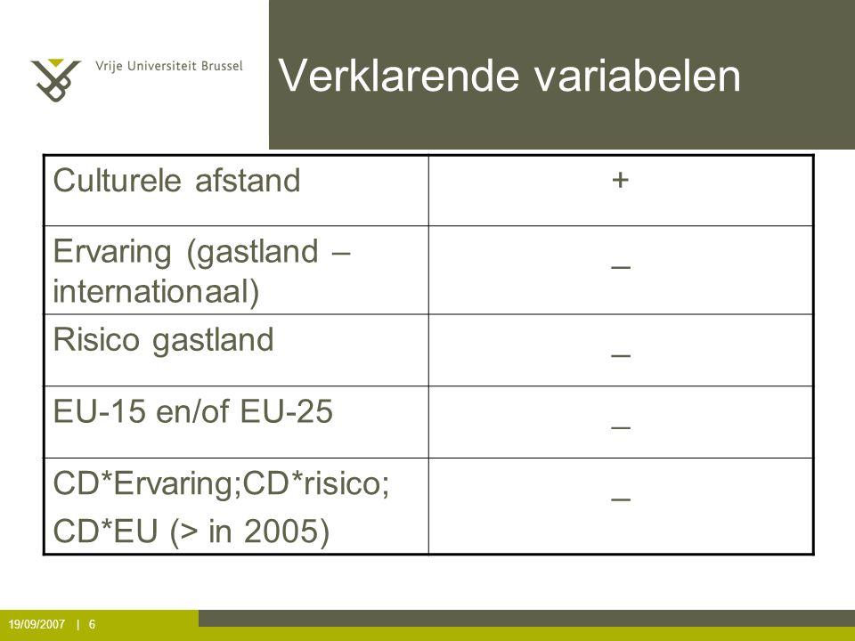 19/09/2007 | 6 Verklarende variabelen Culturele afstand+ Ervaring (gastland – internationaal) _ Risico gastland_ EU-15 en/of EU-25_ CD*Ervaring;CD*risico; CD*EU (> in 2005) _