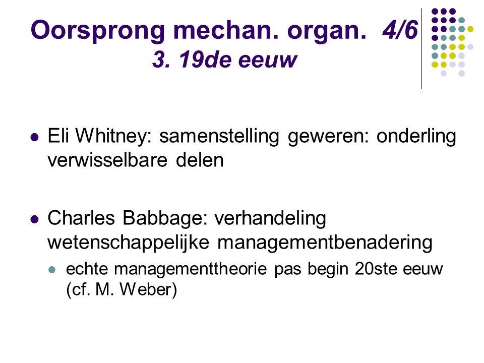 Oorsprong mechan. organ. 4/6 3. 19de eeuw Eli Whitney: samenstelling geweren: onderling verwisselbare delen Charles Babbage: verhandeling wetenschappe