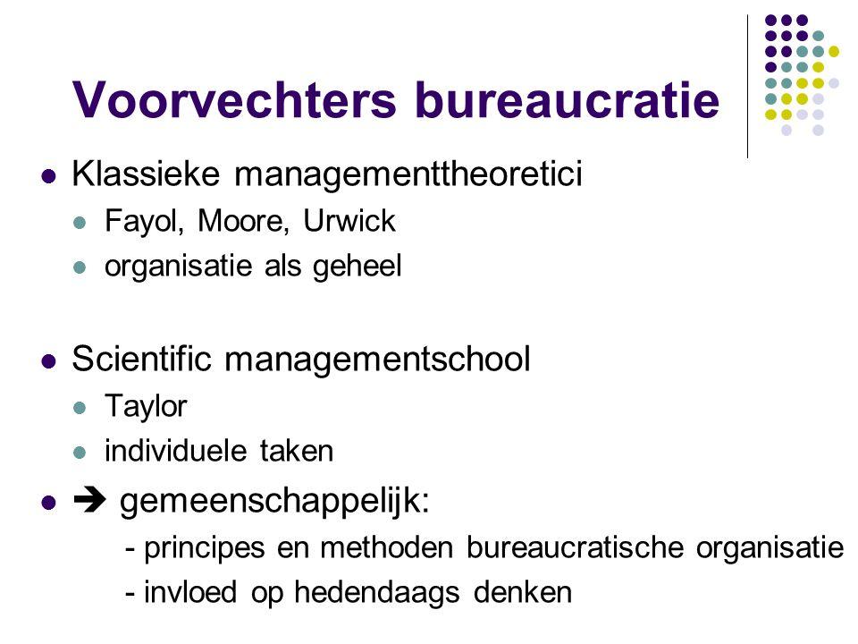 Voorvechters bureaucratie Klassieke managementtheoretici Fayol, Moore, Urwick organisatie als geheel Scientific managementschool Taylor individuele ta