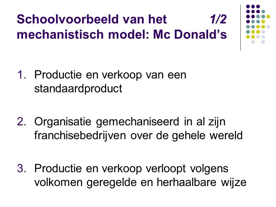 Schoolvoorbeeld van het 1/2 mechanistisch model: Mc Donald's 1.Productie en verkoop van een standaardproduct 2.Organisatie gemechaniseerd in al zijn f