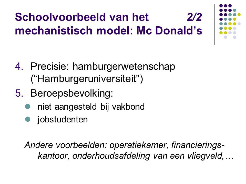 """Schoolvoorbeeld van het 2/2 mechanistisch model: Mc Donald's 4.Precisie: hamburgerwetenschap (""""Hamburgeruniversiteit"""") 5.Beroepsbevolking: niet aanges"""