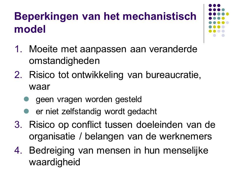 Beperkingen van het mechanistisch model 1.Moeite met aanpassen aan veranderde omstandigheden 2.Risico tot ontwikkeling van bureaucratie, waar geen vra