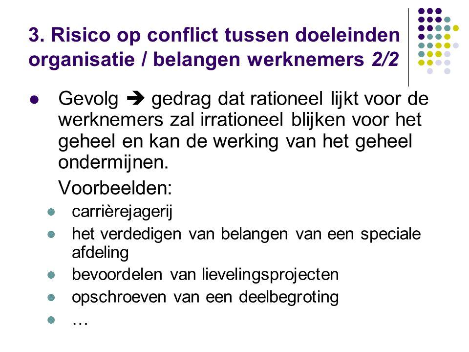 3. Risico op conflict tussen doeleinden organisatie / belangen werknemers 2/2 Gevolg  gedrag dat rationeel lijkt voor de werknemers zal irrationeel b