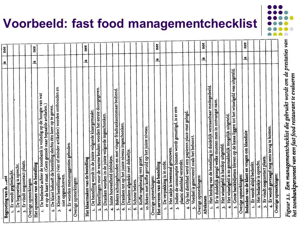 Schoolvoorbeeld van het 2/2 mechanistisch model: Mc Donald's 4.Precisie: hamburgerwetenschap ( Hamburgeruniversiteit ) 5.Beroepsbevolking: niet aangesteld bij vakbond jobstudenten Andere voorbeelden: operatiekamer, financierings- kantoor, onderhoudsafdeling van een vliegveld,…