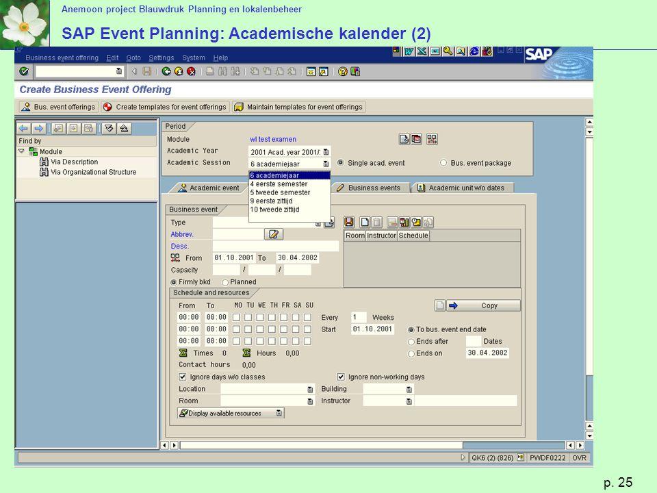 Anemoon project Blauwdruk Planning en lokalenbeheer p. 25 SAP Event Planning: Academische kalender (2)