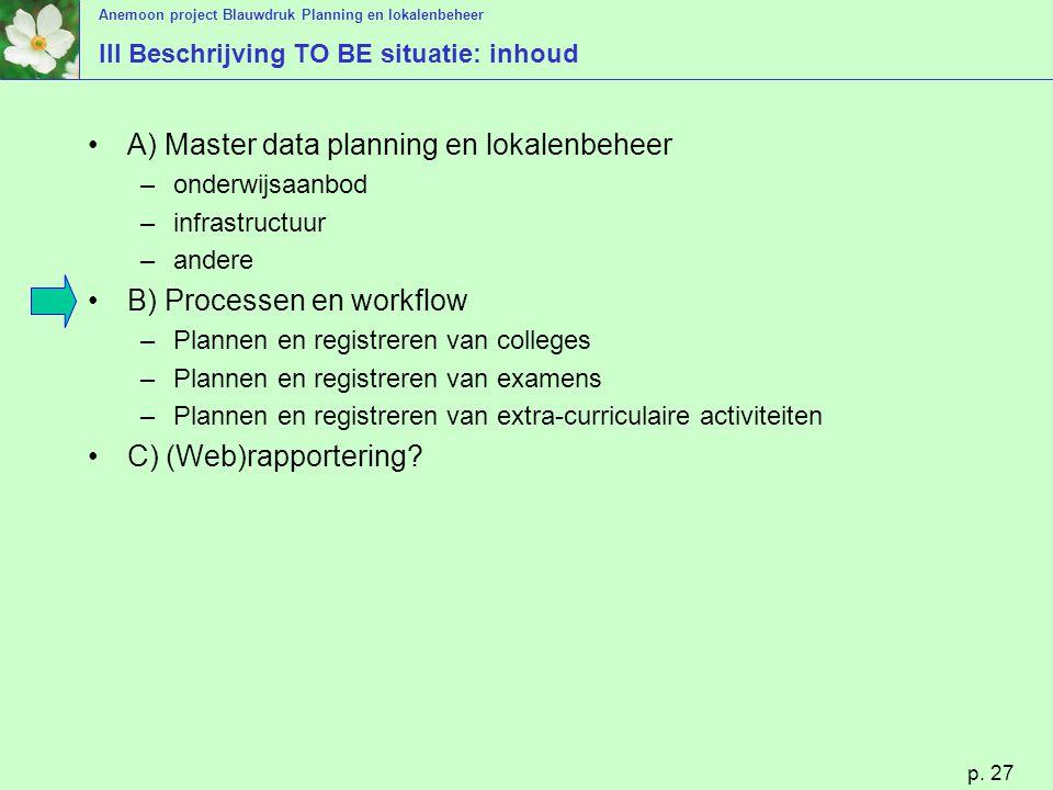 Anemoon project Blauwdruk Planning en lokalenbeheer p. 27 III Beschrijving TO BE situatie: inhoud A) Master data planning en lokalenbeheer –onderwijsa