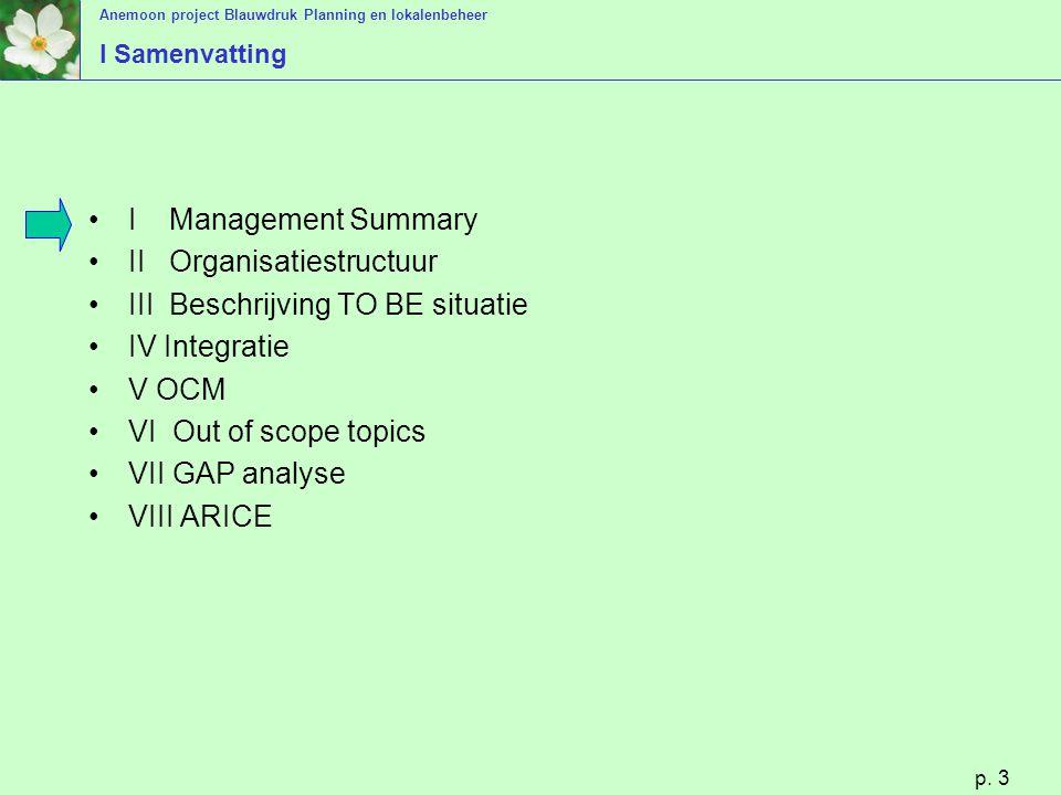 Anemoon project Blauwdruk Planning en lokalenbeheer p. 3 I Samenvatting I Management Summary II Organisatiestructuur III Beschrijving TO BE situatie I