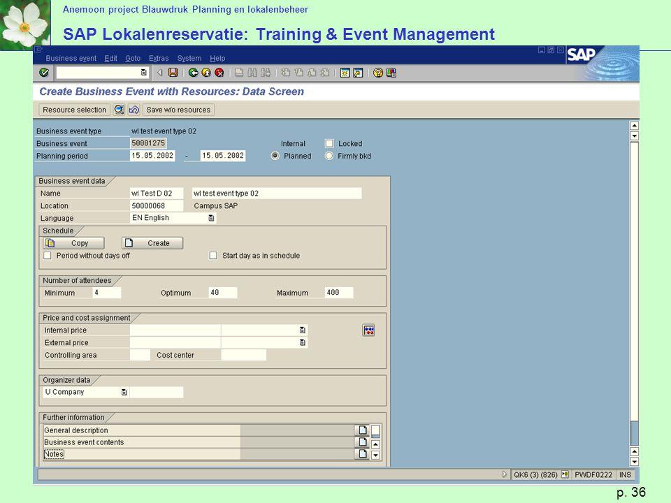 Anemoon project Blauwdruk Planning en lokalenbeheer p. 36 SAP Lokalenreservatie: Training & Event Management