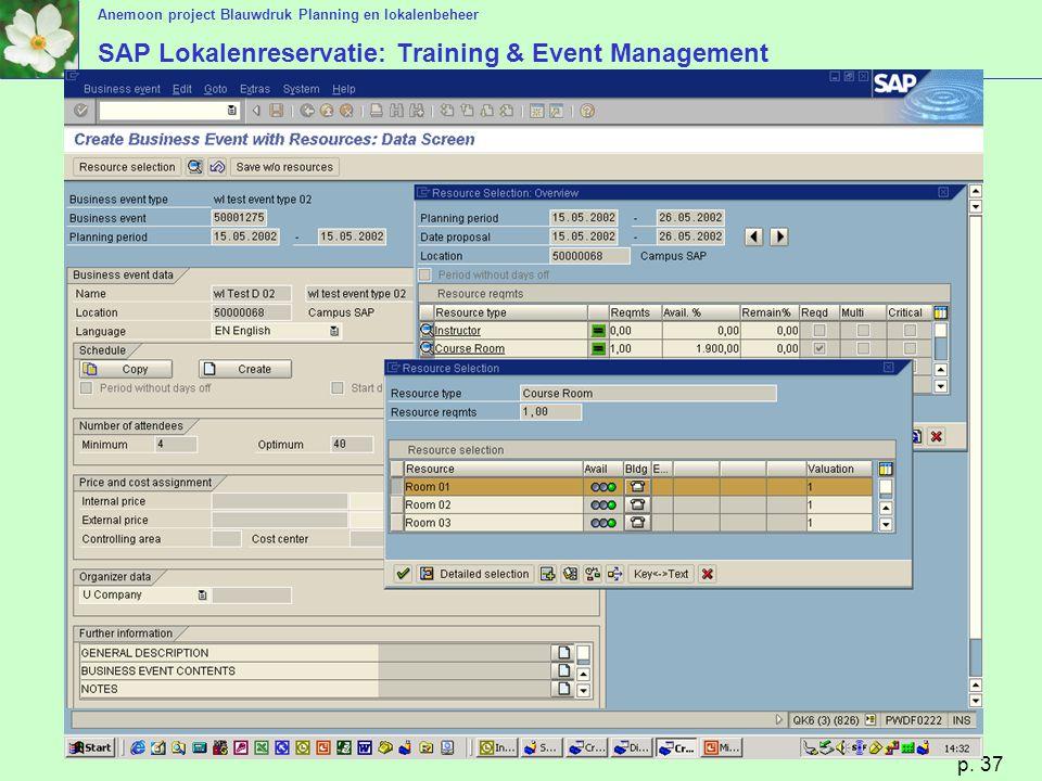 Anemoon project Blauwdruk Planning en lokalenbeheer p. 37 SAP Lokalenreservatie: Training & Event Management