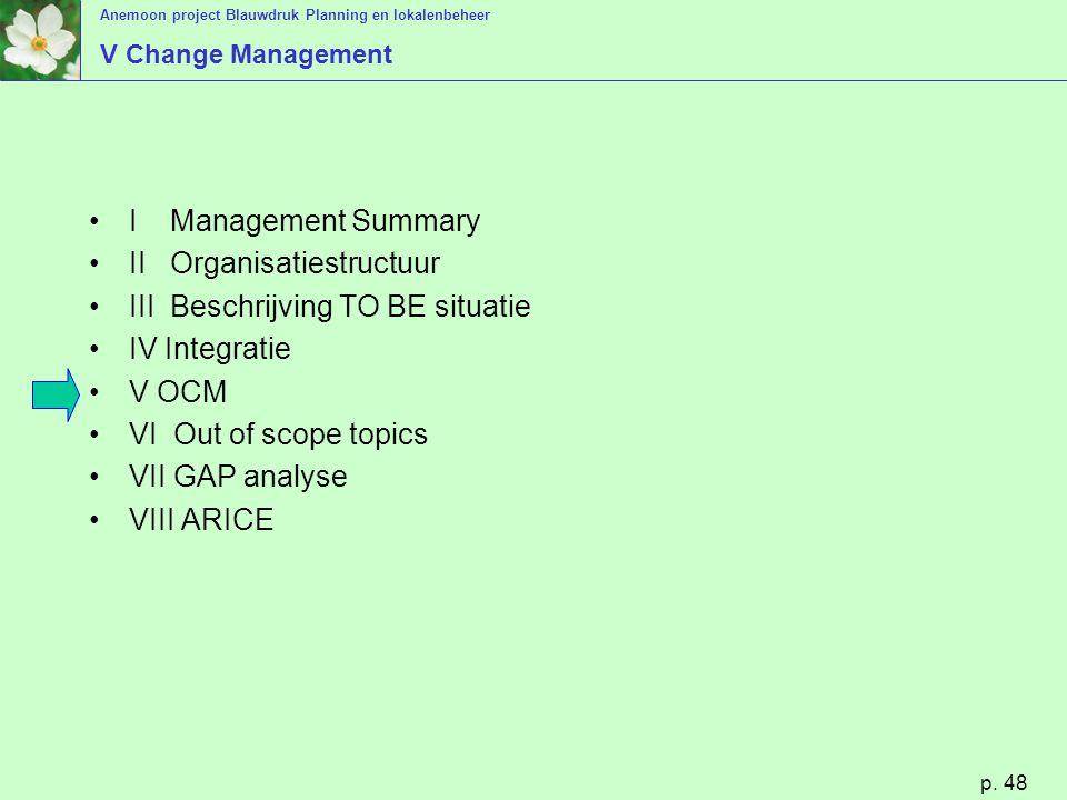 Anemoon project Blauwdruk Planning en lokalenbeheer p. 48 V Change Management I Management Summary II Organisatiestructuur III Beschrijving TO BE situ