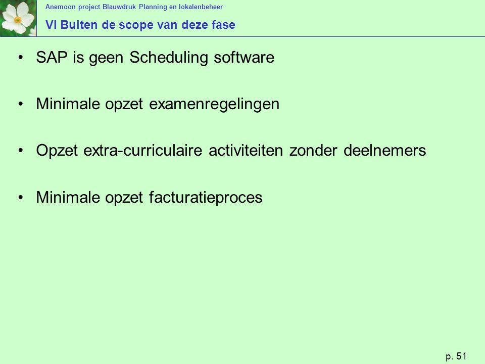 Anemoon project Blauwdruk Planning en lokalenbeheer p. 51 VI Buiten de scope van deze fase SAP is geen Scheduling software Minimale opzet examenregeli