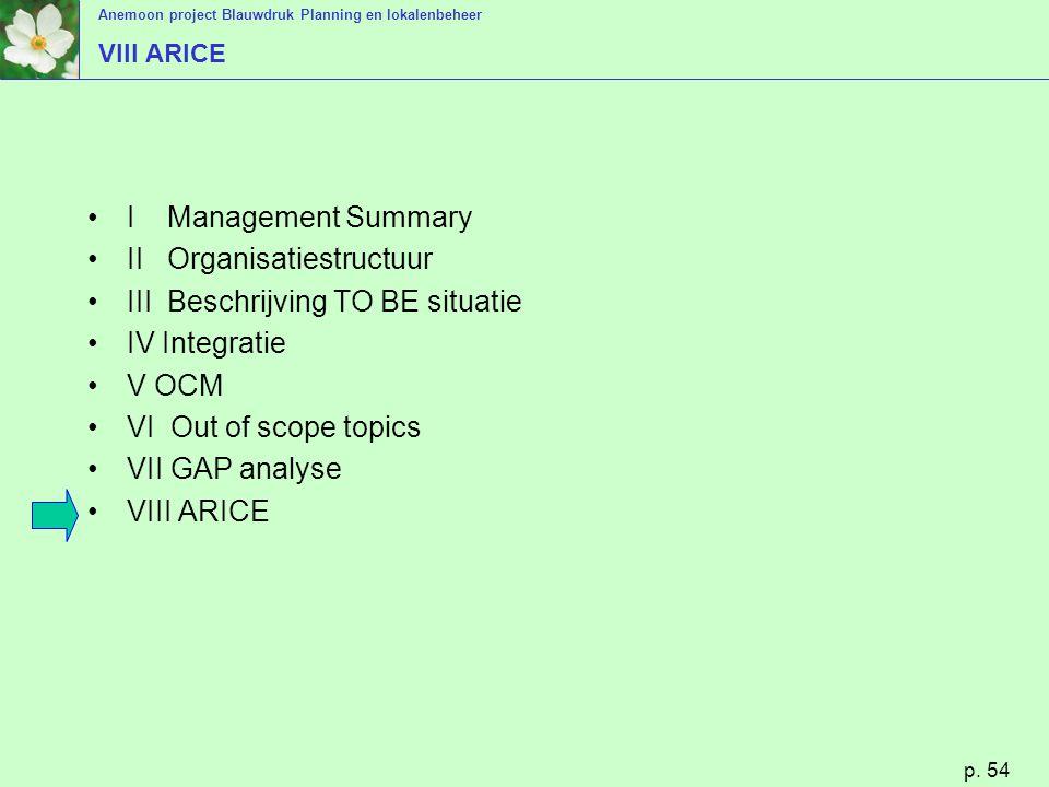 Anemoon project Blauwdruk Planning en lokalenbeheer p. 54 VIII ARICE I Management Summary II Organisatiestructuur III Beschrijving TO BE situatie IV I