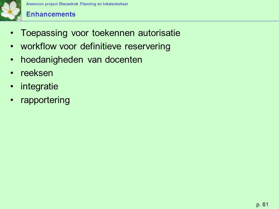 Anemoon project Blauwdruk Planning en lokalenbeheer p. 61 Enhancements Toepassing voor toekennen autorisatie workflow voor definitieve reservering hoe