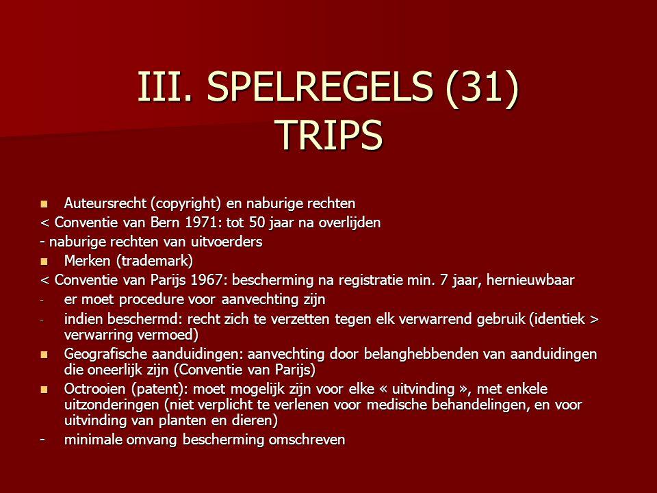 III. SPELREGELS (31) TRIPS Auteursrecht (copyright) en naburige rechten Auteursrecht (copyright) en naburige rechten < Conventie van Bern 1971: tot 50
