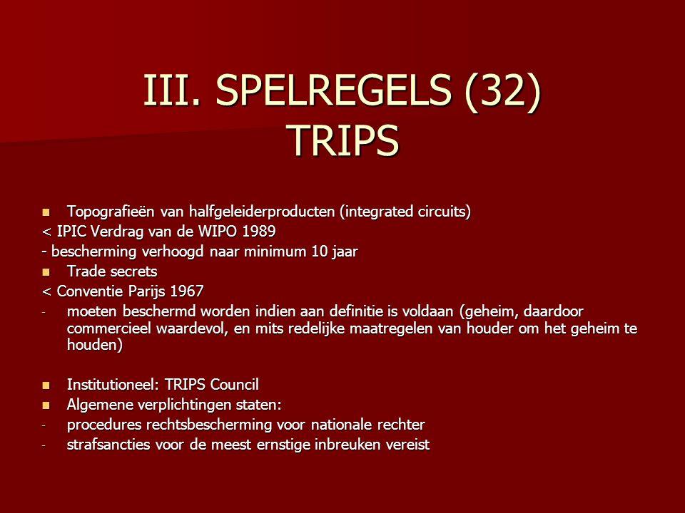 III. SPELREGELS (32) TRIPS Topografieën van halfgeleiderproducten (integrated circuits) Topografieën van halfgeleiderproducten (integrated circuits) <