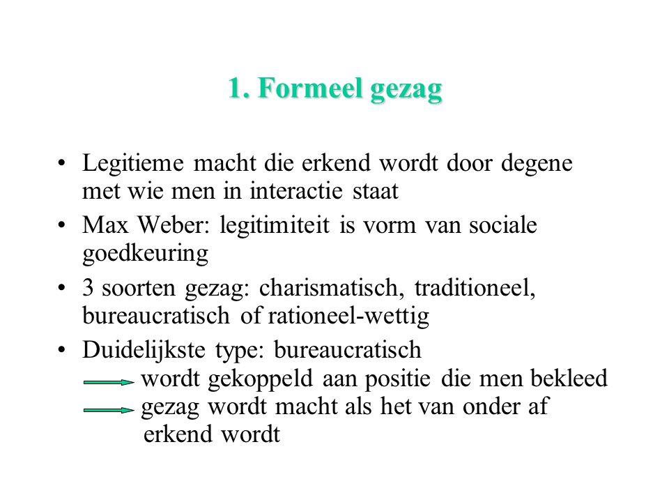 1. Formeel gezag Legitieme macht die erkend wordt door degene met wie men in interactie staat Max Weber: legitimiteit is vorm van sociale goedkeuring