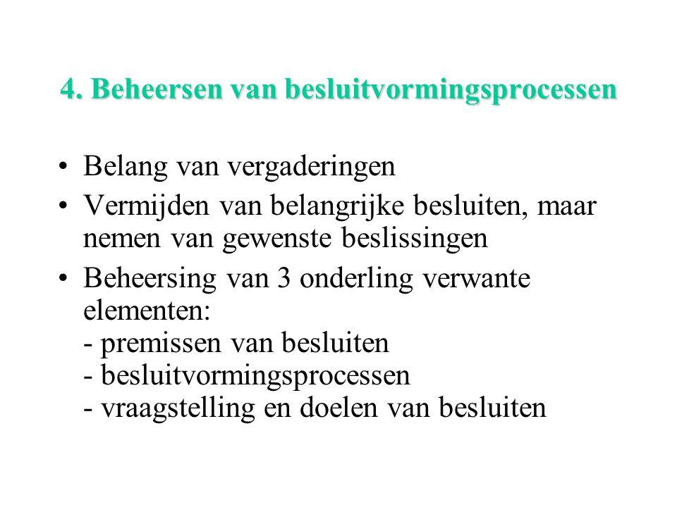 4. Beheersen van besluitvormingsprocessen Belang van vergaderingen Vermijden van belangrijke besluiten, maar nemen van gewenste beslissingen Beheersin