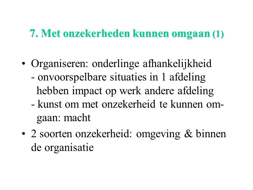 7. Met onzekerheden kunnen omgaan (1) Organiseren: onderlinge afhankelijkheid - onvoorspelbare situaties in 1 afdeling hebben impact op werk andere af