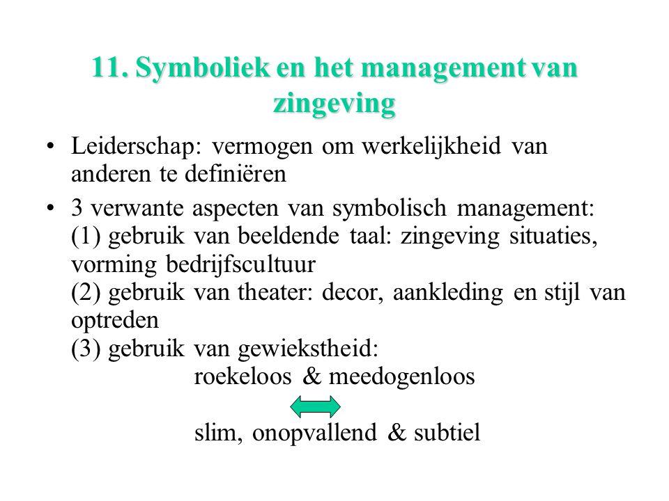 11. Symboliek en het management van zingeving Leiderschap: vermogen om werkelijkheid van anderen te definiëren 3 verwante aspecten van symbolisch mana