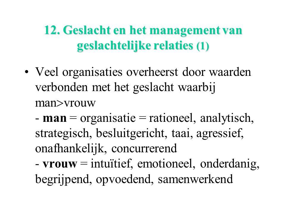 12. Geslacht en het management van geslachtelijke relaties (1) Veel organisaties overheerst door waarden verbonden met het geslacht waarbij man  vrou
