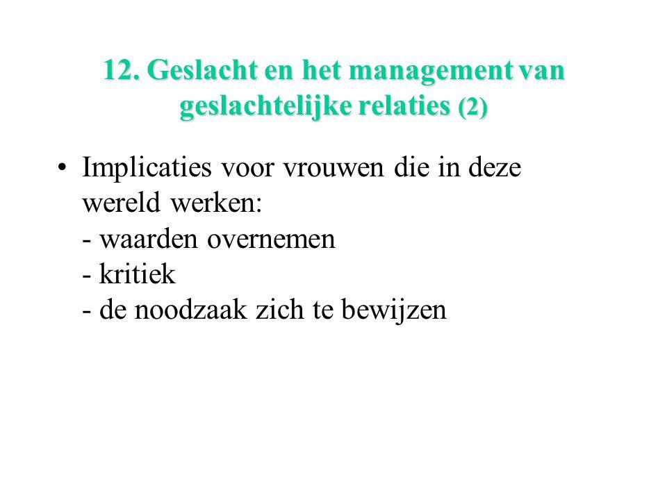 12. Geslacht en het management van geslachtelijke relaties (2) Implicaties voor vrouwen die in deze wereld werken: - waarden overnemen - kritiek - de