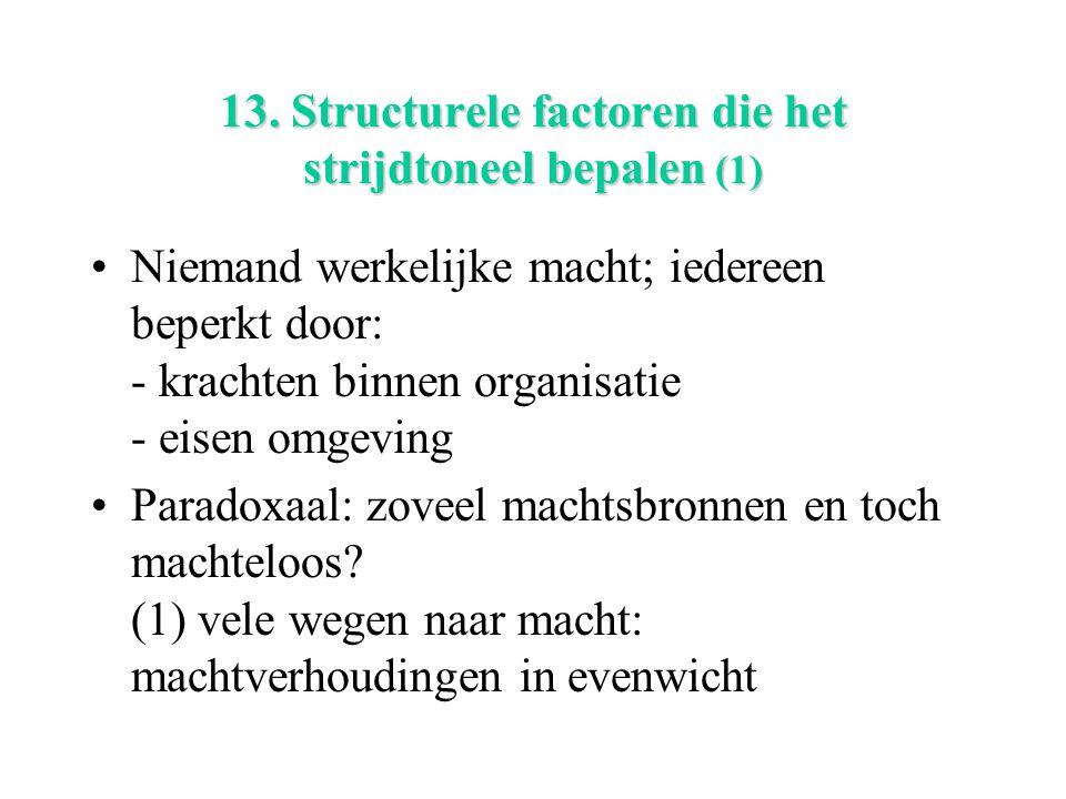 13. Structurele factoren die het strijdtoneel bepalen (1) Niemand werkelijke macht; iedereen beperkt door: - krachten binnen organisatie - eisen omgev