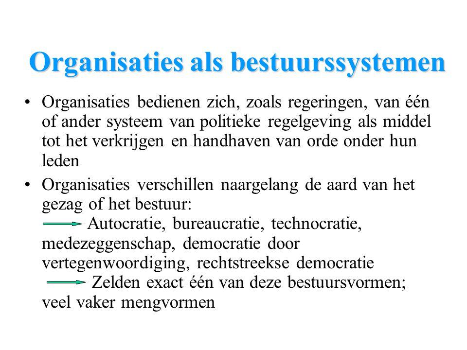 Organisaties als bestuurssystemen Organisaties bedienen zich, zoals regeringen, van één of ander systeem van politieke regelgeving als middel tot het