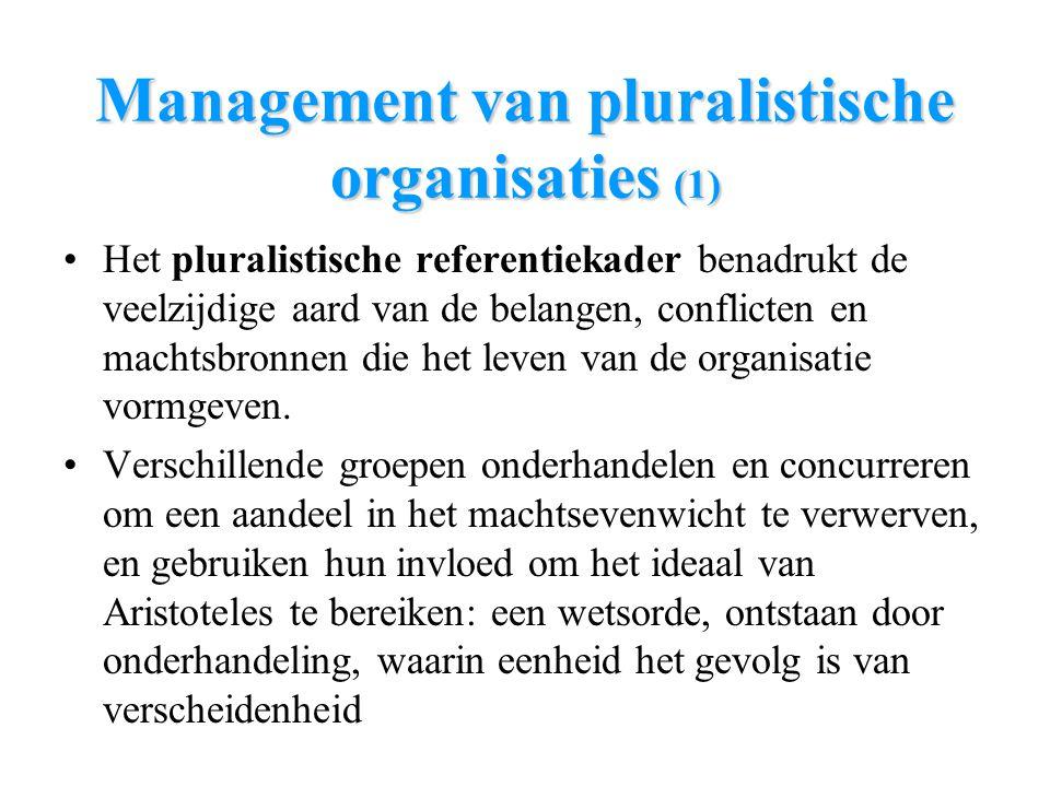 Management van pluralistische organisaties (1) Het pluralistische referentiekader benadrukt de veelzijdige aard van de belangen, conflicten en machtsb