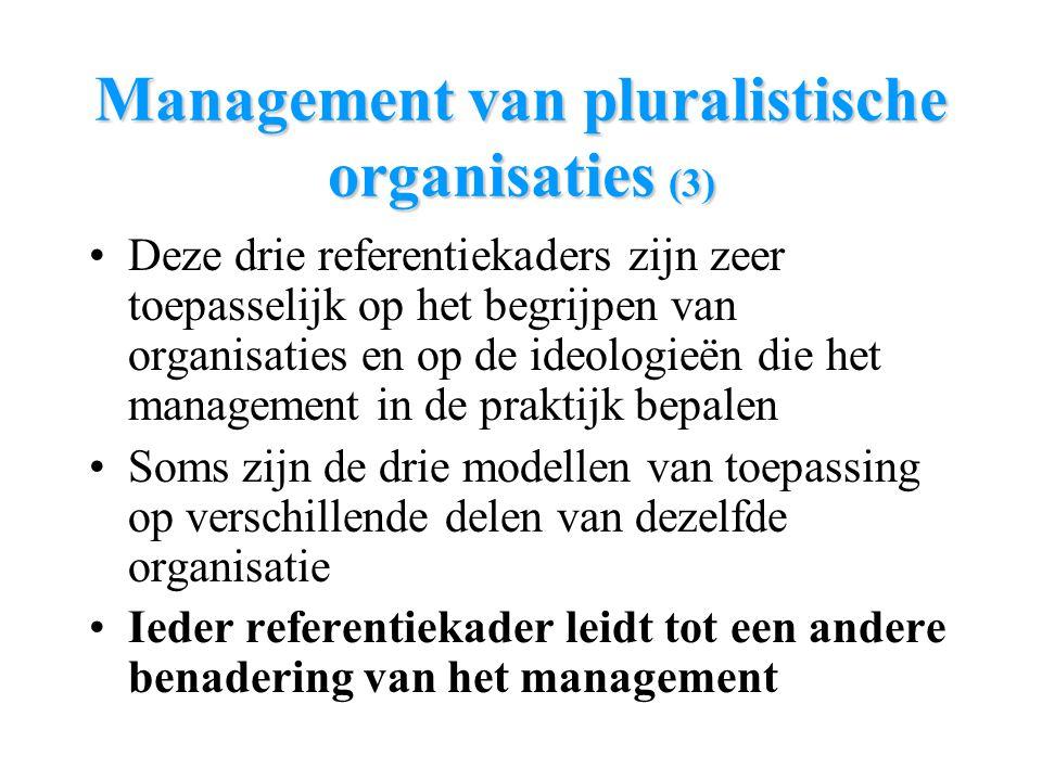 Management van pluralistische organisaties (3) Deze drie referentiekaders zijn zeer toepasselijk op het begrijpen van organisaties en op de ideologieë
