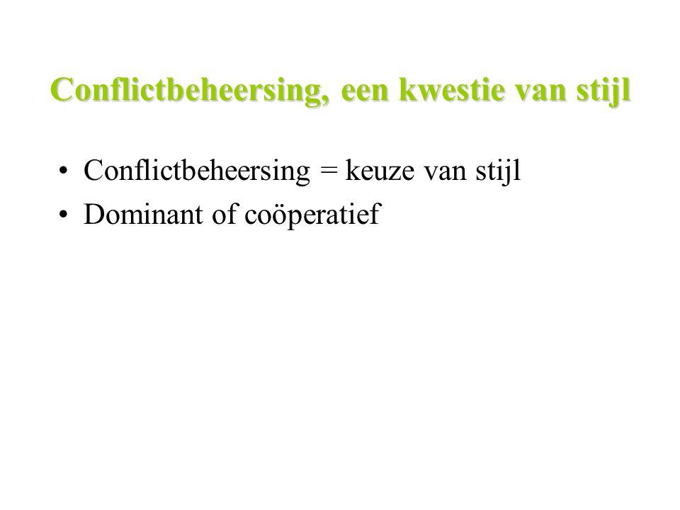 Conflictbeheersing, een kwestie van stijl Conflictbeheersing = keuze van stijl Dominant of coöperatief