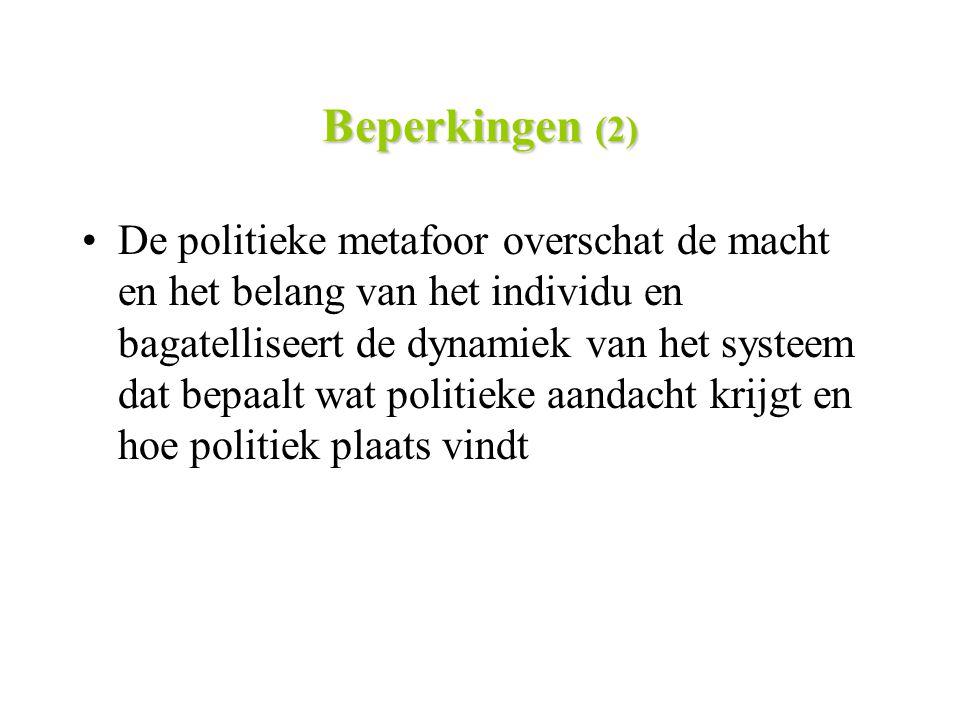 Beperkingen (2) De politieke metafoor overschat de macht en het belang van het individu en bagatelliseert de dynamiek van het systeem dat bepaalt wat