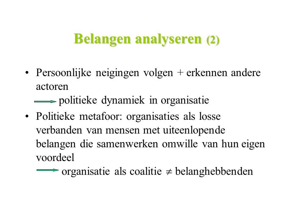 Belangen analyseren (2) Persoonlijke neigingen volgen + erkennen andere actoren politieke dynamiek in organisatie Politieke metafoor: organisaties als