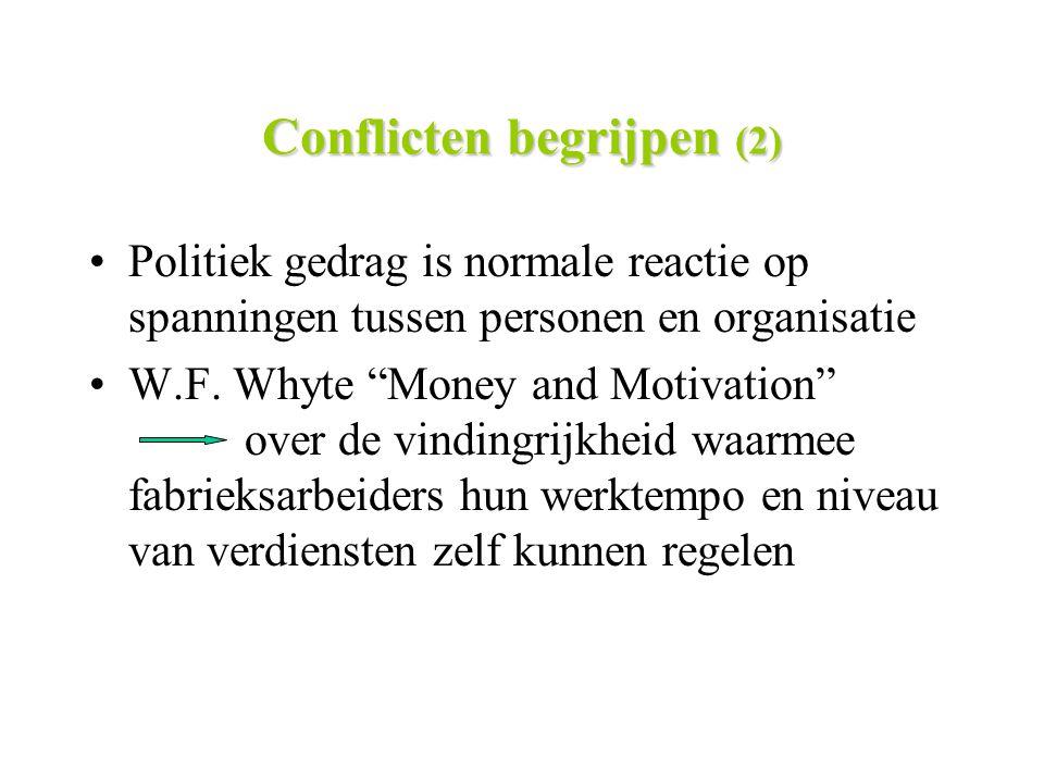 """Conflicten begrijpen (2) Politiek gedrag is normale reactie op spanningen tussen personen en organisatie W.F. Whyte """"Money and Motivation"""" over de vin"""