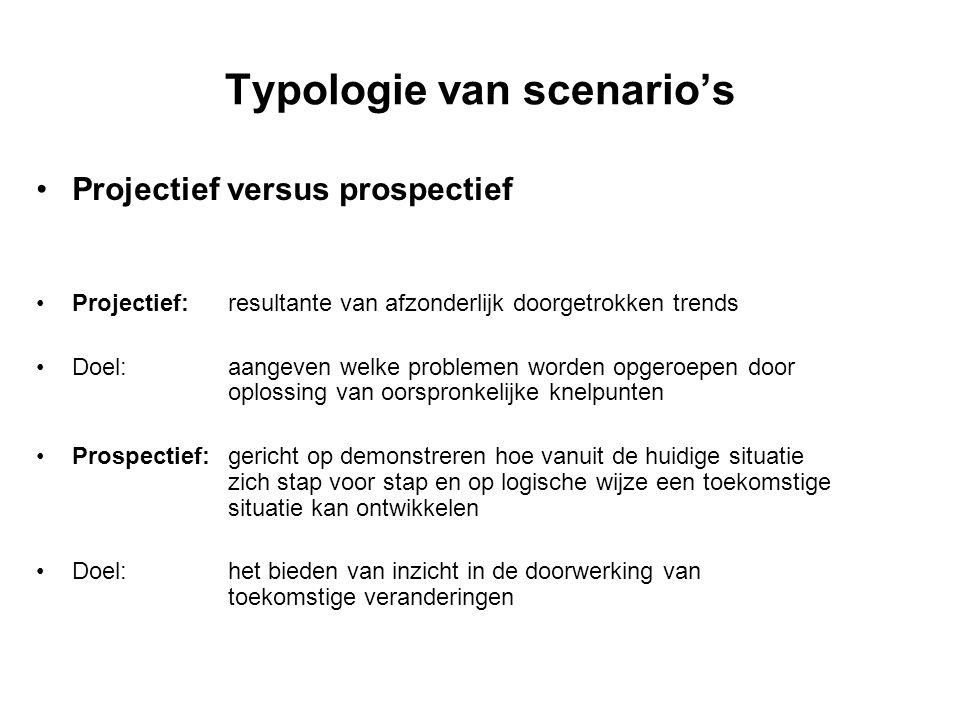 Typologie van scenario's Projectief versus prospectief Projectief: resultante van afzonderlijk doorgetrokken trends Doel:aangeven welke problemen word