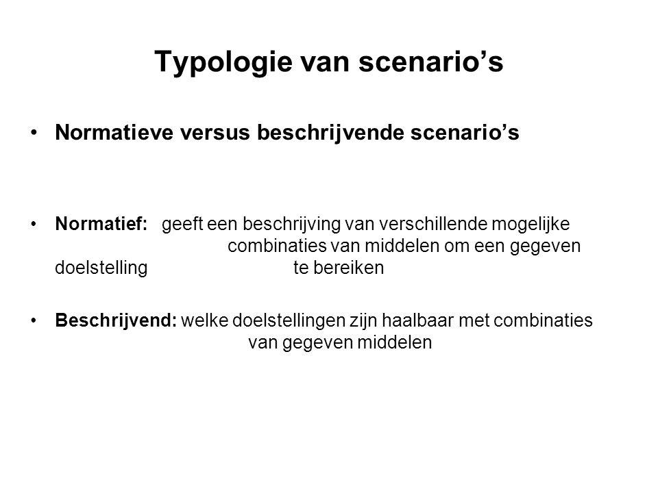 Typologie van scenario's Normatieve versus beschrijvende scenario's Normatief:geeft een beschrijving van verschillende mogelijke combinaties van midde