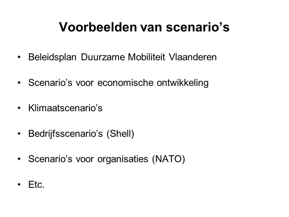 Voorbeelden van scenario's Beleidsplan Duurzame Mobiliteit Vlaanderen Scenario's voor economische ontwikkeling Klimaatscenario's Bedrijfsscenario's (S