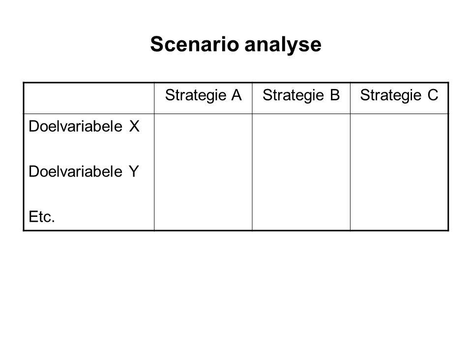 Scenario analyse Strategie AStrategie BStrategie C Doelvariabele X Doelvariabele Y Etc.