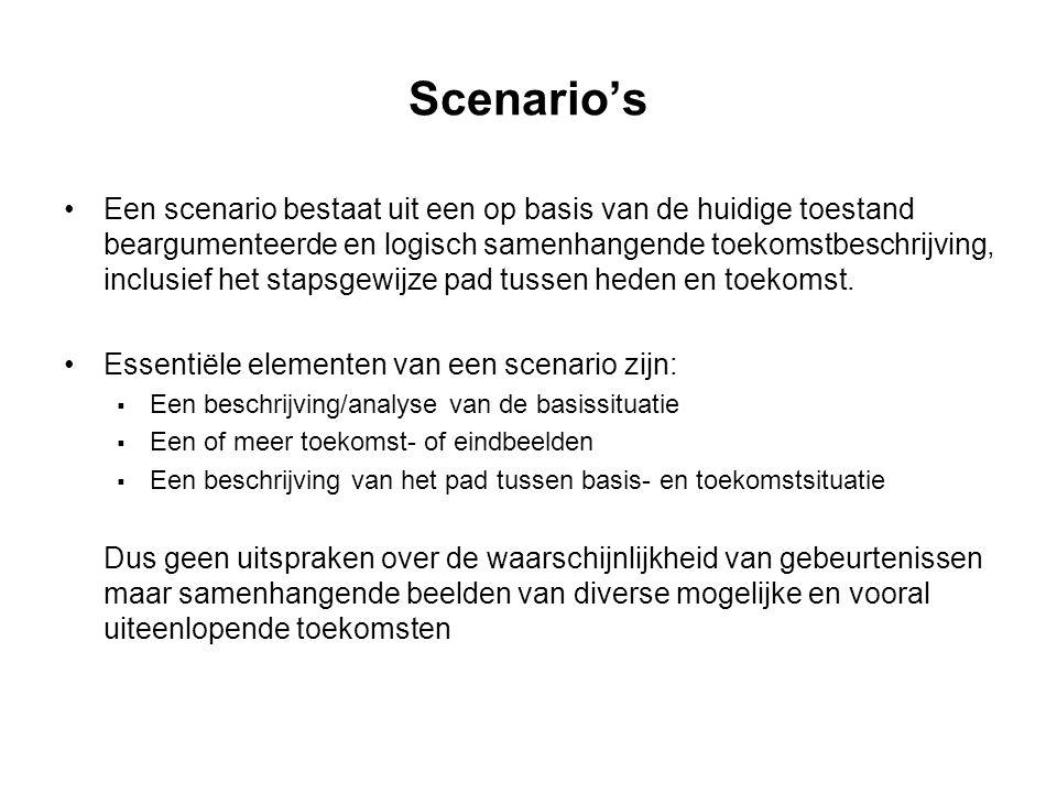 Scenario's Een scenario bestaat uit een op basis van de huidige toestand beargumenteerde en logisch samenhangende toekomstbeschrijving, inclusief het