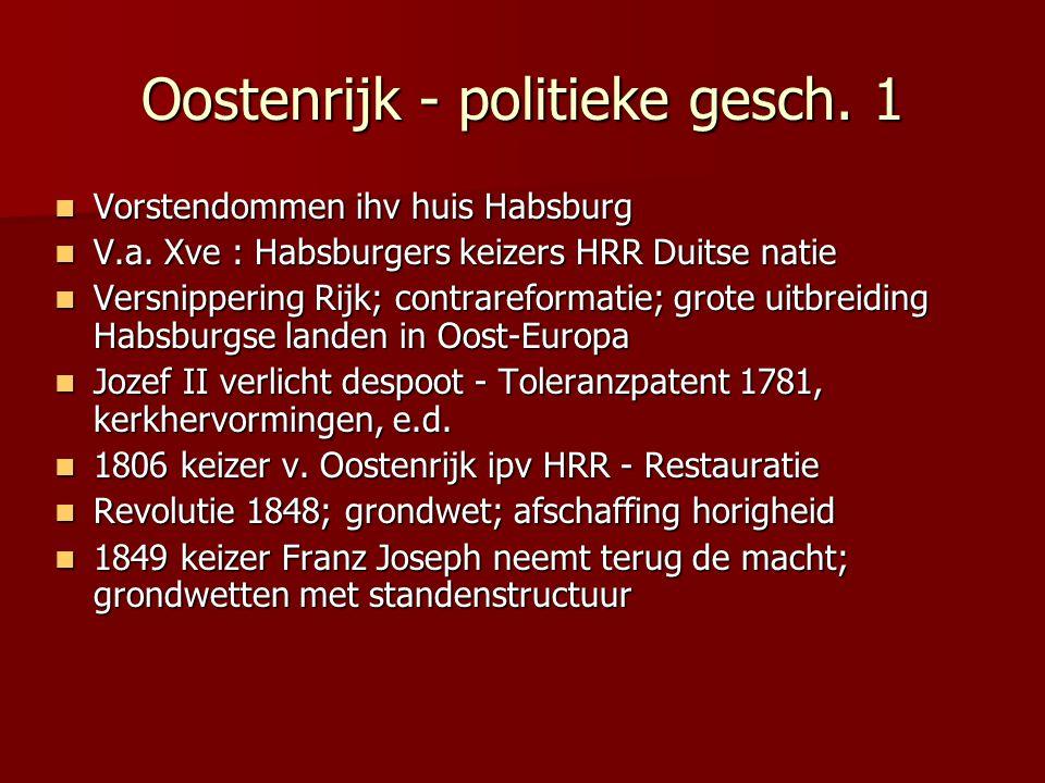 Oostenrijk - politieke gesch. 1 Vorstendommen ihv huis Habsburg Vorstendommen ihv huis Habsburg V.a. Xve : Habsburgers keizers HRR Duitse natie V.a. X