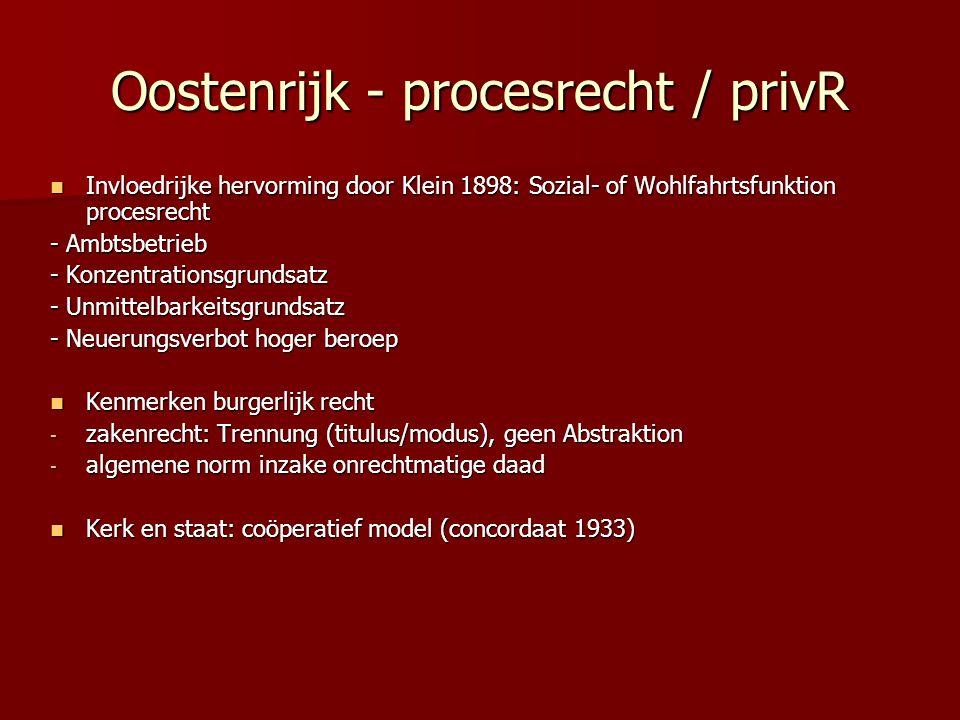 Oostenrijk - procesrecht / privR Invloedrijke hervorming door Klein 1898: Sozial- of Wohlfahrtsfunktion procesrecht Invloedrijke hervorming door Klein