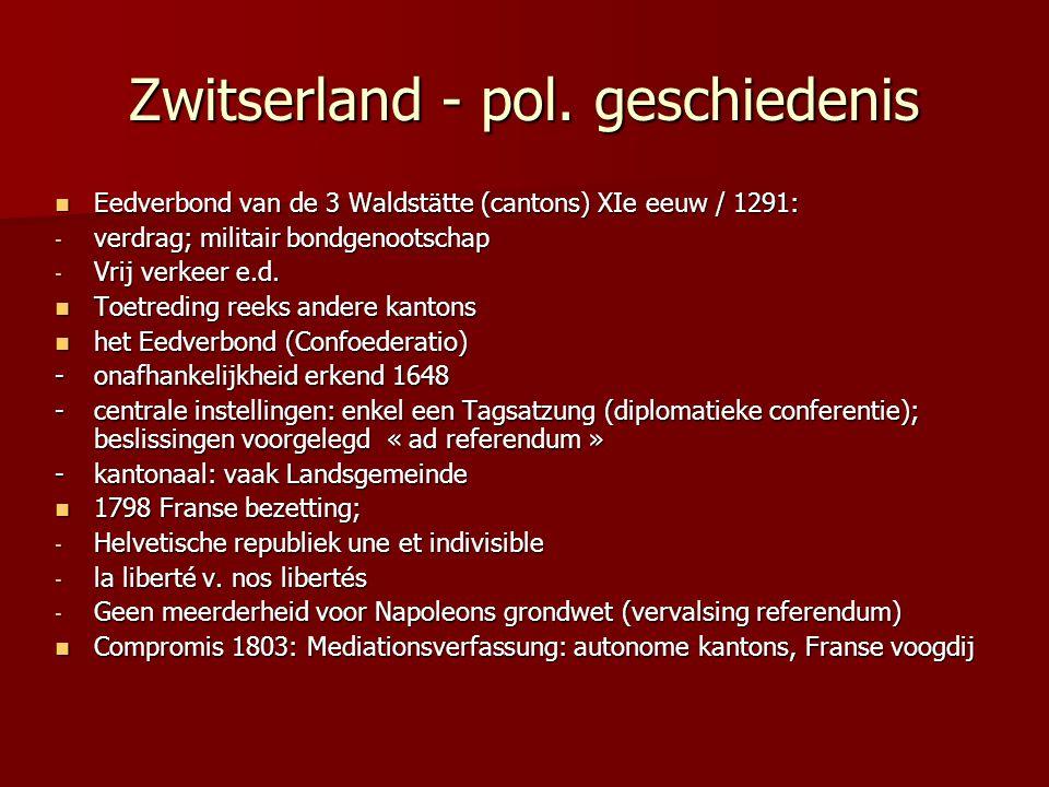 Zwitserland - pol. geschiedenis Eedverbond van de 3 Waldstätte (cantons) XIe eeuw / 1291: Eedverbond van de 3 Waldstätte (cantons) XIe eeuw / 1291: -
