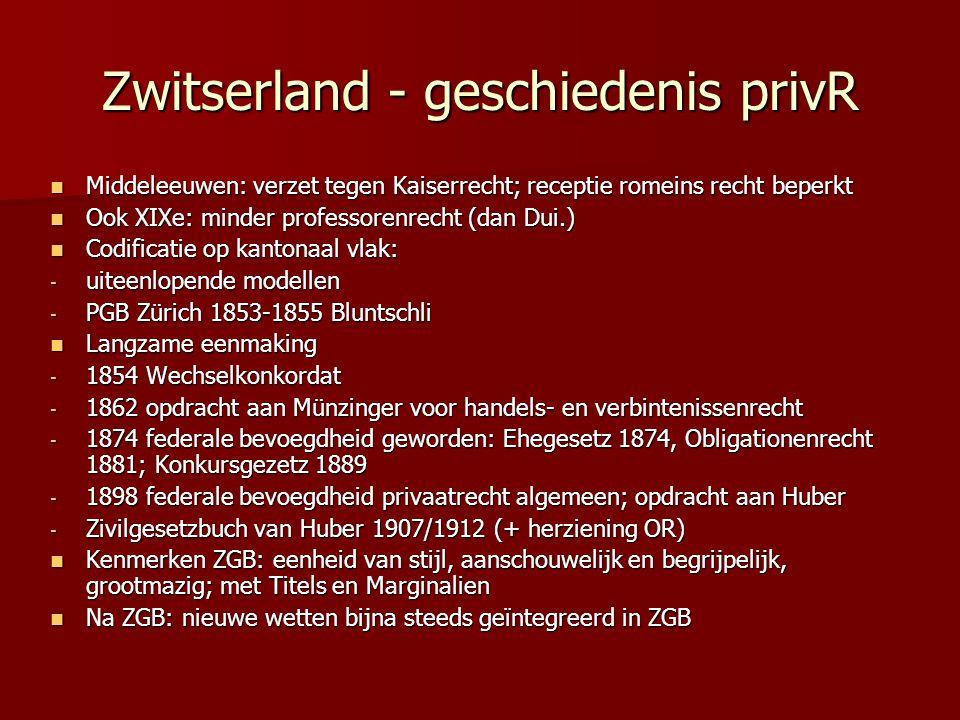 Zwitserland - geschiedenis privR Middeleeuwen: verzet tegen Kaiserrecht; receptie romeins recht beperkt Middeleeuwen: verzet tegen Kaiserrecht; recept