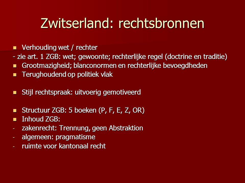 Zwitserland: rechtsbronnen Verhouding wet / rechter Verhouding wet / rechter - zie art. 1 ZGB: wet; gewoonte; rechterlijke regel (doctrine en traditie