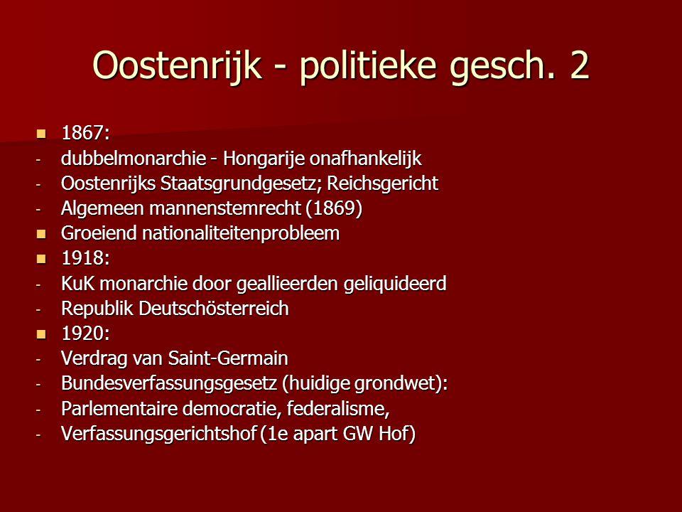 Oostenrijk - politieke gesch. 2 1867: 1867: - dubbelmonarchie - Hongarije onafhankelijk - Oostenrijks Staatsgrundgesetz; Reichsgericht - Algemeen mann