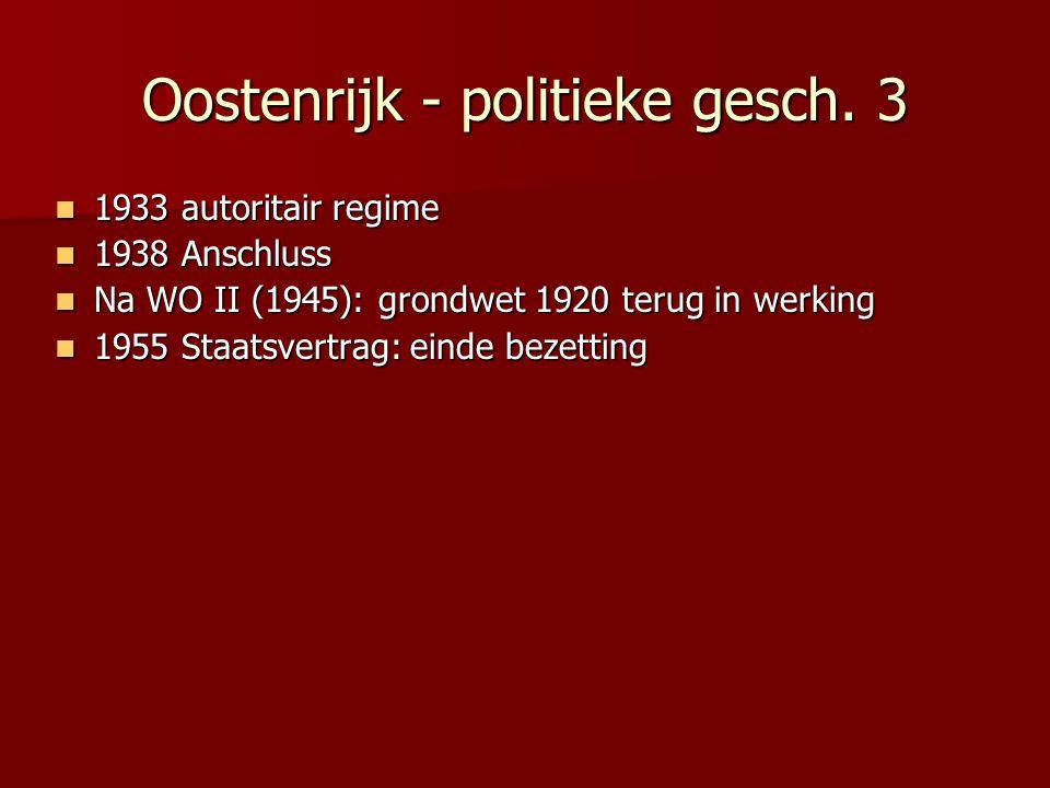 Oostenrijk - politieke gesch. 3 1933 autoritair regime 1933 autoritair regime 1938 Anschluss 1938 Anschluss Na WO II (1945): grondwet 1920 terug in we